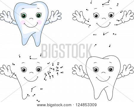 Cartoon Tooth Smiles. Coloring Book And Dot To Dot Game For Kids