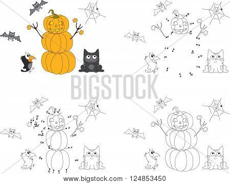 Pumpkin Snowman On Halloween, Surprised Crow And Maple Leaves. Coloring Book And Dot To Dot Game For