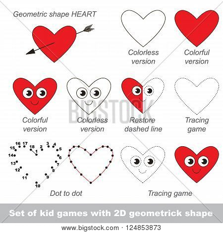 Set of different games with the simple geometric shape. Tracing and half tracing, coloring book. Dot to dot game and connection by numbers. Task and answer. Games for shape Heart.