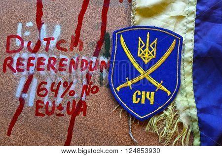 Kiev,Ukraine.APR 7.ILLUSTRATIVE EDITORIAL.Chevron Ukrainian nazionalist battalion.April 7,2016 in Kiev, Ukraine