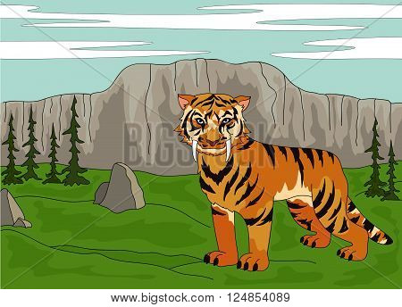 Cartoon Saber-toothed Tiger On The Background Of A Prehistoric Nature