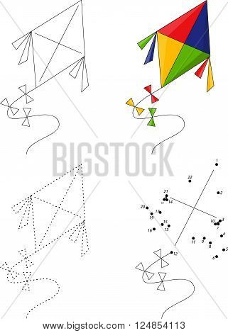 Cartoon Colorful Kite. Dot To Dot Game For Kids