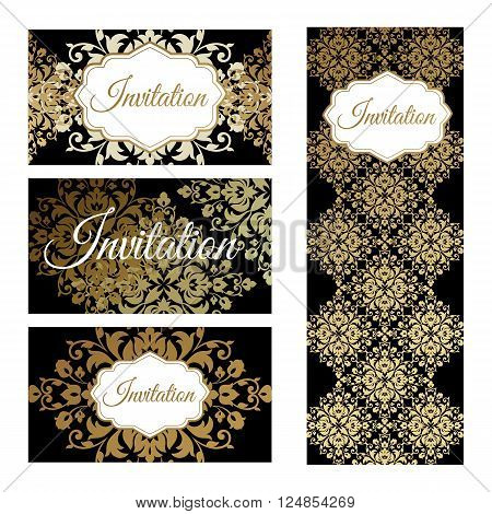 Set invitations templates business cards. The concept of a gold foil printing on black background. Vector abstract illustration.