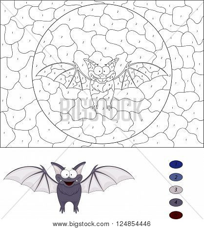 Cartoon Funny Bat. Color By Number Educational Game For Kids