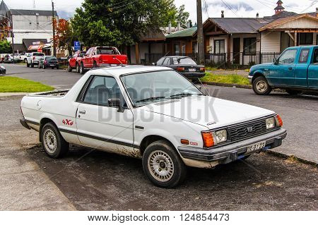 PUCON, CHILE - NOVEMBER 20, 2015: Motor car Subaru MV in the city street.
