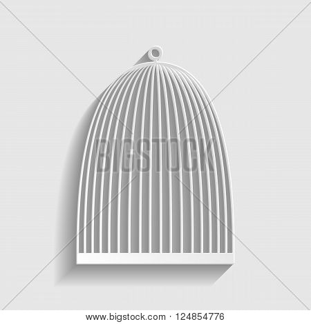 Bird cage sign. Paper style icon with shadow on gray.