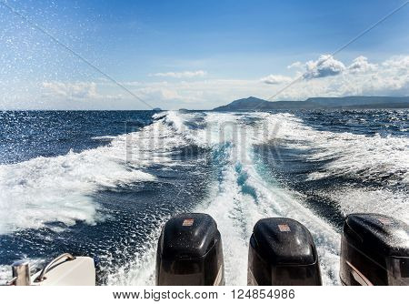 Water Splash From A Boat Wake
