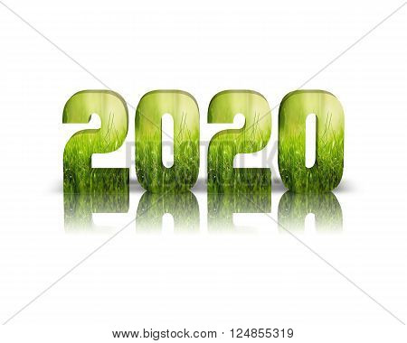 2020 3d word with reflection and shadows