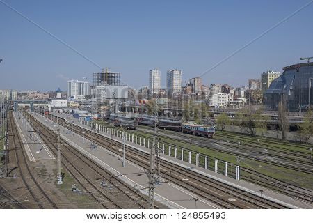 ROSTOV-ON-DON RUSSIA- APRIL 05- View of the Railway Square and the railway tracks on April 05; 2016 in Rostov-on-Don
