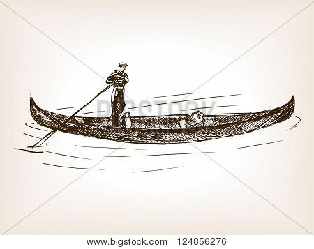 Venetian gondola vehicle sketch style vector illustration. Old engraving imitation. Vintage gondola hand drawn sketch imitation