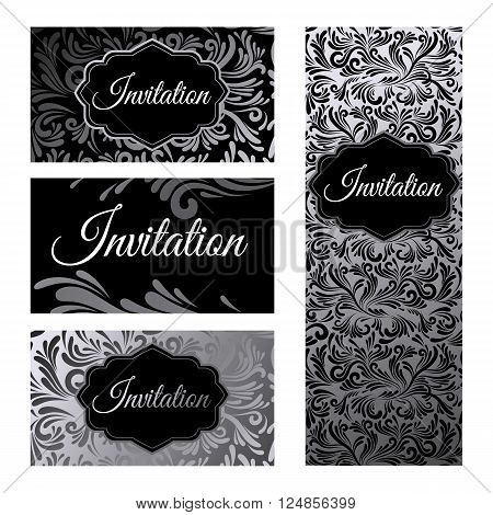 Set invitations templates business cards. The concept of silver foil print on white and black background. Vector abstract illustration.