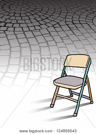 A colorful cover template with a chair and space for text