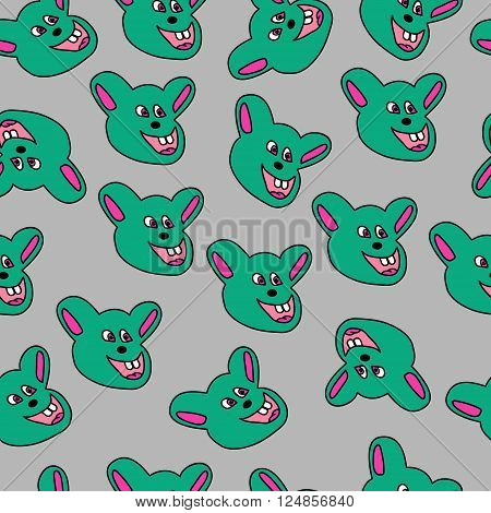 kids seamless pattern mouse on a gray background
