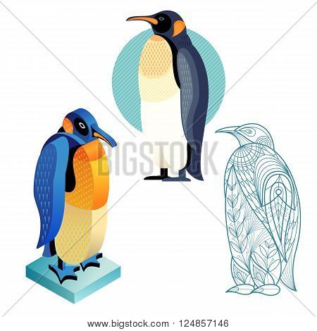 Bird penguin. Flat icon template for adult coloring isometric view. Set of vector birds in different unusual style. Illustration collection of images birds isolated on white background.