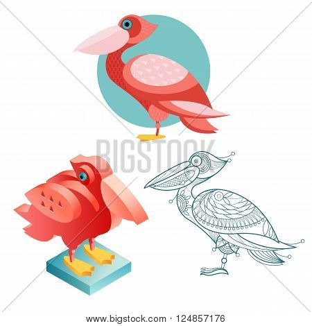 Bird pelican. Flat icon template for adult coloring isometric view. Set of vector birds in different unusual style. Illustration collection of images birds isolated on white background.