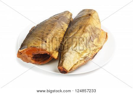 Cold smoked mackerel on plate isolated on a white background