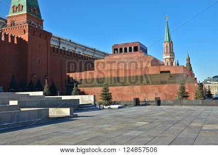 Moscow the Kremlin Lenin's mausoleum. On red square of Moscow on a Sunny day.