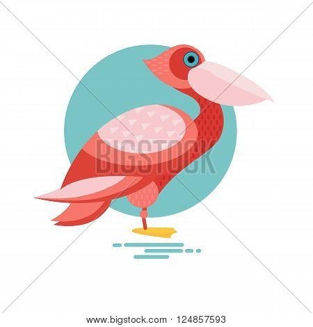 Pelican. Vector image of a flat figure bird. Simplified design of bird from the wild. Graphic illustration of colored exotic bird isolated on white background. Water bird.