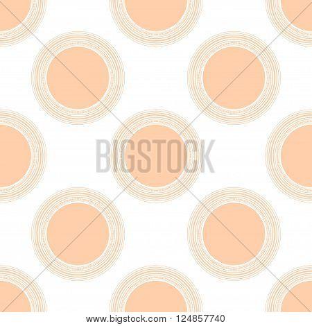 Seamless peach circles or polka dots pattern