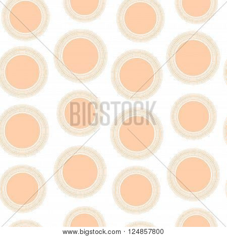 Seamless pattern of peach circles with a border lines