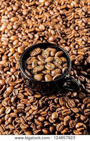 Roasted Coffee In Cup.roasted Coffee In Cup, Coffee Beans Background.coffee, Espresso, Cup, Mug, Dri