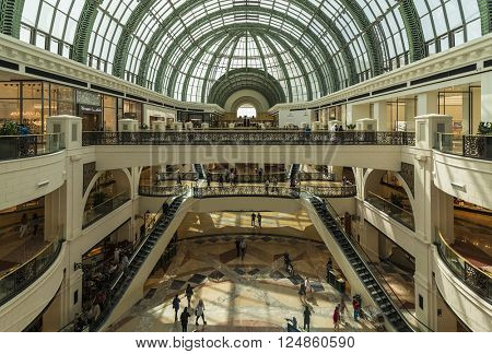 DUBAI, UAE - MARCH 10: Large atrium in the Mall of the Emirates on March 10, 2016 in Dubai. Mall of the Emirates is a shopping mall in the Al Barsha district of Dubai.