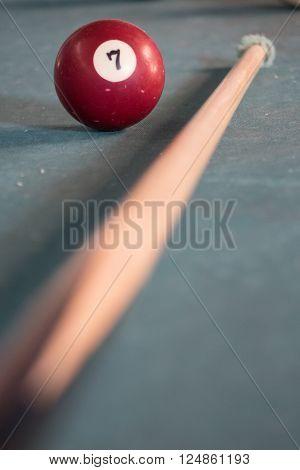 Billard balls on a green billard table
