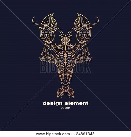 Vector design element - lobster. Icon decorative cancer isolated on black background. Modern decorative illustration animal. Template for logo emblem sign poster. Concept of gold foil print.