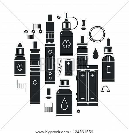 Vector illustration of vape and accessories. Vape icons set Isolated on white background