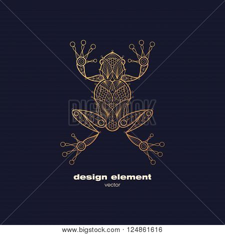 Vector design element - frog. Icon decorative amphibian isolated on black background. Modern decorative illustration animal. Template for logo emblem sign poster. Concept of gold foil print.