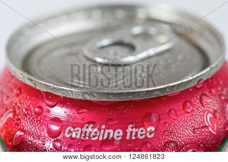 Close up of a can of caffeine free soda.