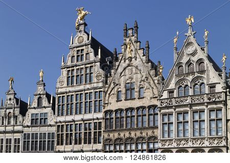 Belgium,Antwerp, March 17, 2016, Row of 16 th century facades of Flemish guild houses on the Grote markt