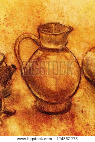 Drawing pitcher and wine carafe on paper. Original hand draw and sepia effect