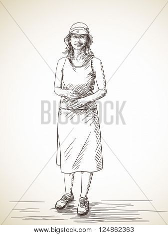 Sketch of smiling woman standing isolated wearing long skirt and hat. Hand drawn illustration