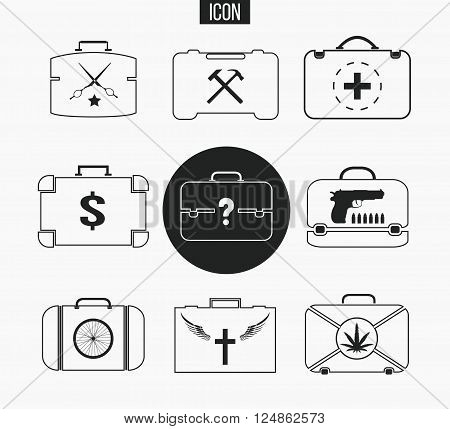 Vector set various briefcases. Illustration of business suitcase in thin line style. Icons, that illustrate lifestyle specialty: doctor, barber, murderer, drug dealer, builder, worker, preacher,