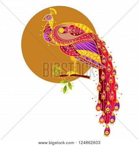 Peacock/Exotic bird peacock/Unusual illustration for book covers displays posters clothing interior items/colored peacock.