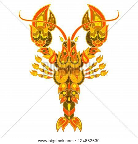 Exotic marine cancer. Unusual illustration spiny lobster for book covers displays posters clothing interior items. Decorative crayfish.
