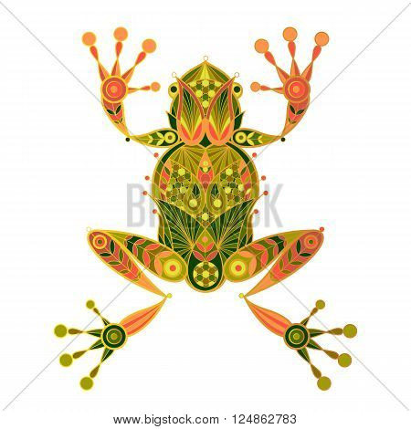 Frog. Vector decorative illustration frog isolated on white background. Ornamental frog image.