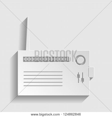 Radio sign. Paper style icon with shadow on gray.