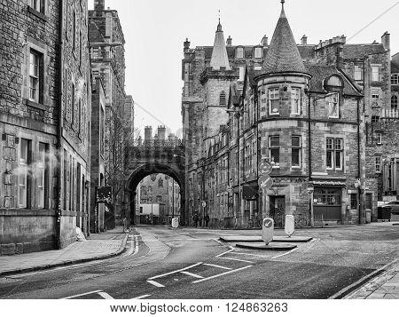EDINBURGH, SCOTLAND - MARCH 7: Buildings of Victorian architecture on Cowgate in Edinburgh at March 7, 2016