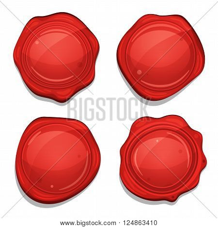 Illustration of a set of glossy and bright cartoon red wax seals for ads of quality products and certificate of authenticity