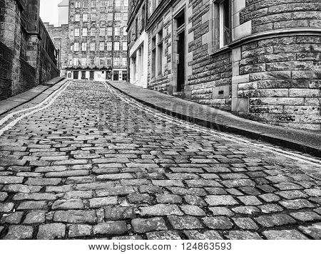 EDINBURGH, SCOTLAND - MARCH 7: Upper Bow leads to the main street called Royal Mile in the Old Town of Edinburgh at March 7, 2016