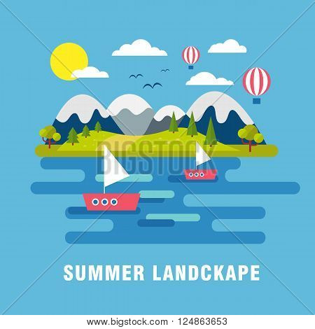 Summer  landscape background. Flat mountains vector with island. Outdoor landscape tourism. Nature landscape. Bright flat river and island with hills and forest