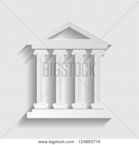 Historical building. Paper style icon with shadow on gray.