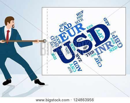 Usd Currency Means United States Dollar And Currencies