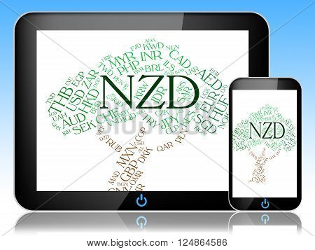 Nzd Currency Indicates New Zealand Dollar And Banknote