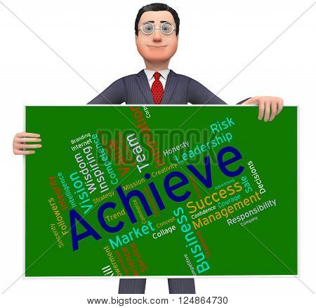 Achieve Words Represents Resolution Winner And Winning