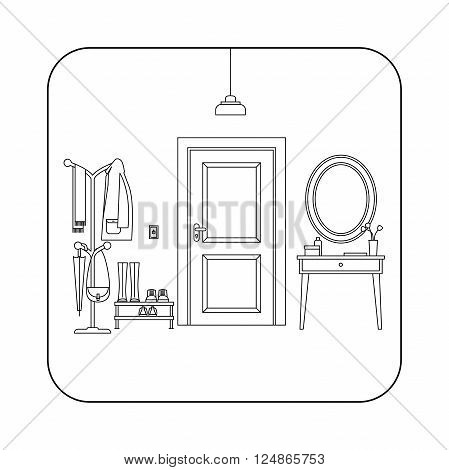 Line hall interior with entrance door. Vector illustration of hallway.