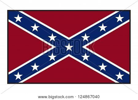 A Confederate flag isolated on a white background