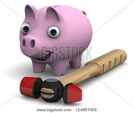Piggy bank and hammer. Joyful pig piggy bank standing next to a hammer on a white surface. Isolated. 3D Illustration